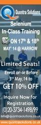 Selenium web driver Training class on May 17th & 18th 2014